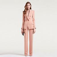 traje de negocios mujer xs al por mayor-Trajes de negocios para mujeres Doble botonadura para mujer Uniforme de oficina Traje de pantalón formal Carne rosa 2 piezas Conjunto