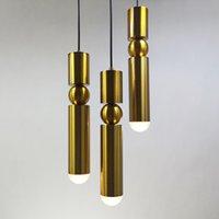 подвесные светильники спальня оптовых-1 шт. Nordic современные подвесные светильники позолоченные золото серебро утюг творческий подвесной светильник столовая гостиная спальня балкон светильник