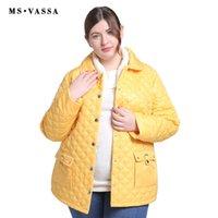 дамы желтые парки оптовых-MS VASSA женщин куртка обивка хлопок 2018 Весна мода желтый дамы парки большой размер отложным воротником плюс размер 7XL