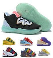 zapatillas de baloncesto moradas para hombre. al por mayor-Zapatillas de baloncesto Kyrie 5 V Zapatillas de deporte 2019 Irving Purple Mens Man 5s Taco Bred Ikhet Neon Blends Magic PE Classic Baskets Ball Shoes