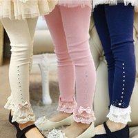 guarnição de strass azul venda por atacado-crianças leggings bebés Primavera Queda-de-rosa azul do laço bege leggings ruffle guarnição strass crianças legging princesa algodão