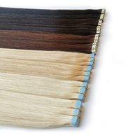 extensions de cheveux de bande auburn foncé achat en gros de-Extensions de cheveux Bande invisible Bande Remy Hair Extensions cuticules Alignés 100 g / 40piece droit double face bande de cheveux 16 18 20 22 24 26