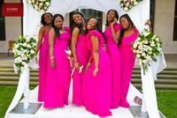 vestido de la cintura del imperio de las rosas fuertes al por mayor-Impresionante color de rosa caliente Un hombro Vestidos de dama de honor Cintura del imperio Tallas grandes Volantes Fiesta de invitados Invitación Vestido de gala Vestidos de gala