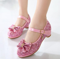 Princess Kids Leather Shoes For Girls Flower Casual Glitter Children High Heel Butterfly Knot Dress Party Shoes Blue Pink Silvr