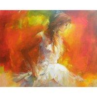 yağlı boya güzel kızlar toptan satış-El boyalı güzel yağlıboya oturma odası dekor için Genç kız bayan sanat