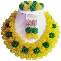 conjunto de joyas hechas a mano africanas al por mayor-Hecho a mano tradicional de color verde amarillo perlas de cristal africano collar nupcial conjunto de joyas para los amantes del compromiso 3C-SJSS-01