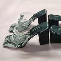 yüksek topuklu jöle ayakkabıları toptan satış-Lüks Jöle Tasarımcı Terlik PVC Şeffaf Terlik Yüksek Topuk Sandalet Slaytlar Üst Deri Kontrast Renk Serpantin Plaj kadın Ayakkabı 42