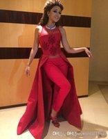arabisches rotes kaftan kleid großhandel-Arabisch Fares Kleider Ohne Hosen 2019 Neue Illusion Kaftan Dubai Muslimische Frauen Prom Kleider Satin Rot Sexy A Line Abendkleider 270