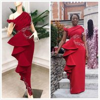 Wholesale art nude girl back resale online - Red Stylish Evening Dresses One Shoulder Beaded Crystals Prom Dresses Black Girl Sheath Formal Bridesmaid Party Gowns