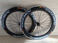 Wholesale 88mm clincher wheel set online - Black blue color mm alloy carbon wheels road bike wheelset clincher C glossy finished blue cosmic aluminium rim wheels made in china