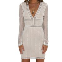 vestidos curtos toptan satış-Bayan Dantel Elbise Moda Seksi Uzun Kollu Bayanlar Backless Elbise 2019 Moda Shift Elbise Vestidos Curtos # BF