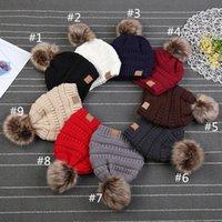 ingrosso muffa di crochet del bambino-Orecchie bambini bambino del Knit di inverno Cappelli C spessore elastico maglia Beanie Classic Children pelliccia Pom Pom Crochet Cuff Calotta Muff Hat
