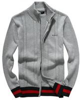 ingrosso uomini di maglione con zip-maglione classico di alta qualità di vendita calda maglione del pullover dei nuovi uomini di autunno inverno maglione del colletto della chiusura lampo del cotone mezzo alto del colletto