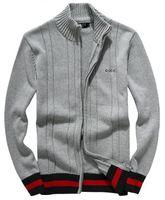 reißverschluss-pullover männer großhandel-Strickjacke-Herbstwinter der neuen Männer des heißen Verkaufs klassische Pulloverstrickjacke-halber hoher Kragenreißverschluss starke Baumwollstreifenjacke