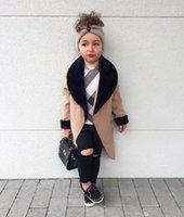 ingrosso principessa ragazza giù cappotto-2019 Little girls giacche di lana patchwork colletto in pelliccia con risvolto, cappotti invernali da principessa, cappotti bimba trench