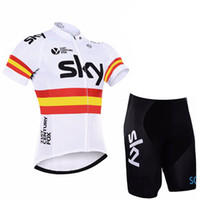 maillot ekibi gökyüzü pro bisiklet toptan satış-2019 Yaz gökyüzü Pro Team kısa kollu Bisiklet Forması Set MTB Nefes ve çabuk kuruyan Bisiklet Giyim Askı suit Maillot Ropa Ciclismo