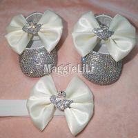 bebek özel ayakkabılar toptan satış-Ilmek Özel Sparkle Bling Kristalleri Ab Rhinestones Bebek Kız Ayakkabı Bebek 0-1y Şerit Ayakkabı İlk Walkers Hairband 5276 J190517