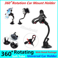 Wholesale phone holder car windshield sucker resale online - Auto Holder Degrees Rotation Car Windshield Sucker Soft Tube Double Clips Suction Mount Bracket for Mobile Phone GPS PDA Retail package