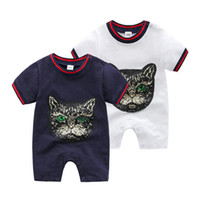 Wholesale baby boy coverall jumpsuits resale online - 2019 Baby Boys Girls Rompers Designer label Kids Cotton Jumpsuits Infant Girls Letter Cotton Romper Boy Girls coverall children Clothing