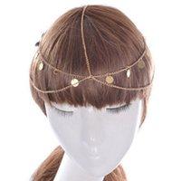 saç zincirleri toptan satış-Klasik Mutilayer Altın Saç Takı Kadınlar Için Yuvarlak Pul Kafa Zincir Moda Kafa Takı Kafa ücretsiz kargo