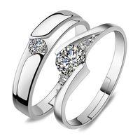 feuer rote edelsteine großhandel-Öffnen Sie justierbaren silbernen Ring-Kristallzirkonia-Ring-Paar-Verlobungs-Ehering-Modeschmuck