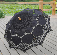 encaje negro decoraciones de la boda al por mayor-Hermoso encaje negro nupcial boda sombrillas ictorian dama traje traje nupcial cosplay baile decoración del partido parasol barato