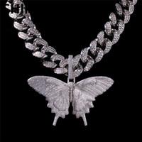 butterfly necklaces großhandel-Iced Out Animal Big Butterfly Anhänger Halskette Silber Blau plattiert Herren Hip Hop Bling Schmuck Geschenk Großhandel