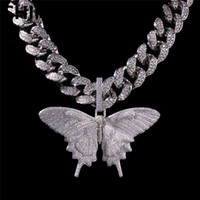 большая серебряная пластина оптовых-Iced Out Animal Big Butterfly Кулон Ожерелье Серебро Синий Позолоченный Мужская Хип-Хоп Bling Ювелирные Изделия Подарок Оптовая