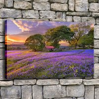 Wholesale oil painting lavender wall art resale online - Canvas Wall Art Printed Pictures Piece Lavender Beautiful Sunset Flower Fields Painting Living Room Home Decor Tree Poster