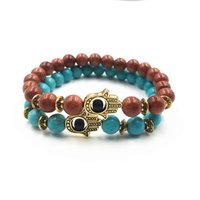Wholesale bracelet y resale online - Free DHL Elastic Rope Fashion Natural Healing Lava Energy Stone Yoga Hamsa Hand Evil Eye Beads Bracelet Gift Styles For Choose D273S Y