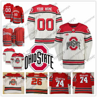 Wholesale Custom Ohio State Buckeyes Ice Hockey Any Number Name Red White Ryan Kesler Ryan Dzingel Mason Jobst Men Youth Jersey