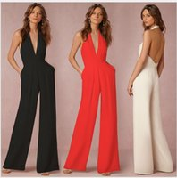 Wholesale sexy girl elegant clothing online - 2018 New Arrival Girls Fashion Sexy Slim Long Jumpsuits Lady S Elegant V Neck Rompers Clothing Black Red White Xl L