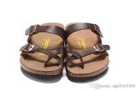 ingrosso pantofole marroni per le donne-805 Mayari Arizona Gizeh street summer Uomo Donna sandali appartamenti marrone Cork pantofole unisex Sandy beah scarpe casual stampa taglia mista 34-45