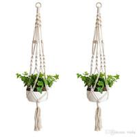 cesta de flores ganchos al por mayor-60 unids gancho de la planta maceta maceta hecha a mano de tejer fino natural plantador titular de la cesta de jardín en casa balcón decoración