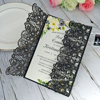 Wholesale printable lace resale online - Black Laser Cut Wedding Invitation with Envelope Damask Printable Lace Invitations for Quinceanera Brunch Graduation by DHL
