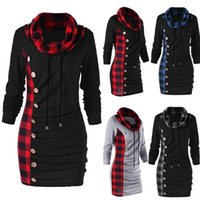 e98f6f7c245 Cowl Neck Tunic Plaid Trim Casual Button Sweatshirt Dress Autumn Long Sleeve  Sheath Bodycon Dress long T-shirts DRESSES Hoodie Plus Size 5xl