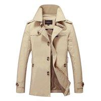 herren-trenchcoats groihandel-New Herren Trenchcoat Modedesigner Mann Medium-Long-Frühlings-Herbst britische Art dünne Jacken Windjacke Male Plus Größe M-5XL