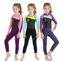ingrosso le neonate nuotano i vestiti-Tuta da immersione per bambini Completa per bambini Completa per bambini Anti-uv 2.5MM Neoprene Costume da bagno intero Bambino Abbigliamento per lo snorkeling