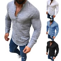 Wholesale flax clothing for sale - Long Sleeve Shirts Flax Stand Collar Pure Color Single Breasted T Shirt Men Autumn Home Clothing Plus Size fc E1