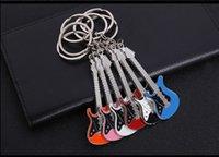 musikinstrumente klingelt großhandel-Mini-Metall Klassische E-Gitarre Schlüsselanhänger Schlüsselanhänger Auto Gitarre Schlüsselring Musikinstrumente Anhänger für Männer WomenGift Großhandel