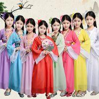Wholesale girls dresses resale online - traditional chinese folk dance costumes ancient opera tang dynasty han ming child hanfu dress clothing girl kids children LJJA2686