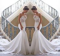 vestido de noiva calcinhas de renda de praia venda por atacado-2019 cintas de espaguete Lace sereia vestidos De casamento de cetim Lace Applique Sweep trem Boho vestidos de noiva de casamento robes de mariée BC0190