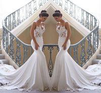 ingrosso abiti 12-2020 senza spalline in pizzo sirena abiti da sposa spiaggia raso in pizzo applique sweep treno boho abiti da sposa abiti da sposa BC0190