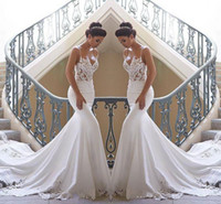tren elbiseleri toptan satış-2020 Spagetti Sapanlar Dantel Mermaid Sahil Gelinlik Saten Dantel Aplike Sweep Tren Boho Düğün Gelinlikler elbiseler de mariée BC0190