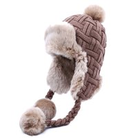 Wholesale aviator warm cap hat for sale - Group buy Women Trapper Hats Winter Warm Faux Fox Fur Bomber Hat Beanies Russian Ushanka Wool Knit Pom Pom Earflaps Aviator Caps