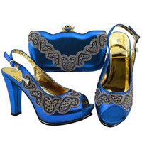 Latest Design Italian Shoes with Matching Bags Set Decorated with  Rhinestone Nigerian Women Wedding Shoes and Bag Set Sexy Heels 1a667fdfc8fa
