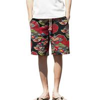 homens de perna larga venda por atacado-Roupas Masculinas Casual homens curtos Largo-breasted Harem Algodão Linho Largo-perna Pijamas Shorts de praia solta