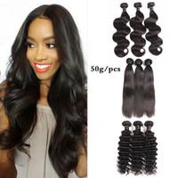 vague cheveux india achat en gros de-8A Brésilienne Droite Vierge Cheveux Humains Tisse 3/4 Faisceaux Lot Péruvienne Inde Malaisienne Cheveux Tisse Extensions Vague D'eau Profonde 50g / pcs