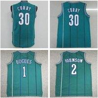 ingrosso ricamo pallacanestro jersey curry-NCAA Steph Curry 30 Basketball Maglia Larry Johnson 2 Muggsy Bogues 1 ricamo universitario Jersey