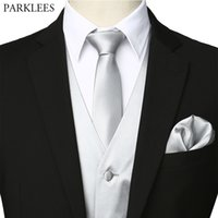 Wholesale silk sliver resale online - Men s Sliver Silk Waistcoat Vest Handkerchief Necktie Bowtie Party Wedding Tuxedo Vest Men Business Casual Vests Piece Set XL